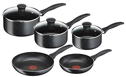 Tefal B190S544 Origins 5 Piece Stone Pots and Pans set, Black, 20 & 24CM Frying Pans, 16 & 18 & 20CM Saucepans with Lids