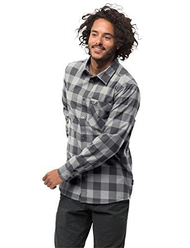 Jack Wolfskin Herren Red River Shirt Reise Freizeithemd Atmungsaktiv Hemd, grau (ebony checks), M
