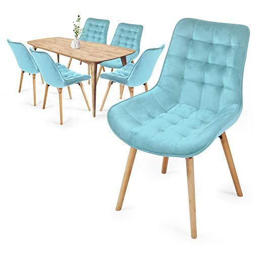 Juego de sillas de comedor – Color a elegir – Juego de 2/4/6/8 – Asiento de terciopelo acolchado con patas de madera de haya con respaldo – Silla de cocina vintage retro