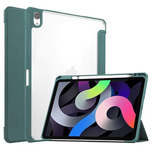 Case for iPad Air 10.9 (2020) - Tri-fold Back Cover - Transparent - Dark Green
