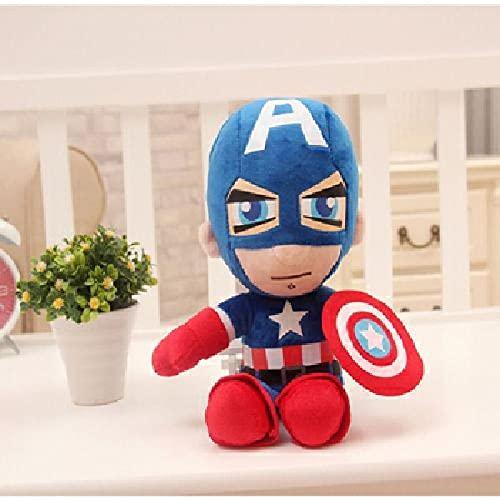 Avengers Puppe Plüschtier, Marvel Batman Captain America Puppe, Spiderman Stoffpuppe, Plüschkissen auf Jungenbett, Geburtstagsgeschenk Captain America 25cm