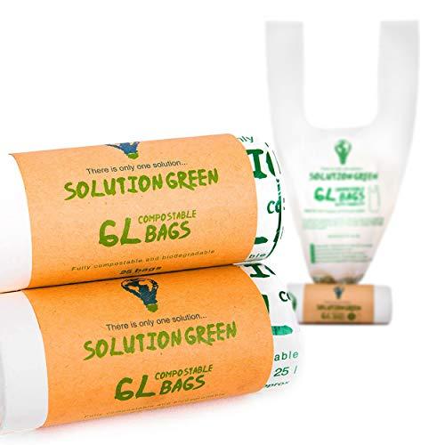 Solution Green 5L / 6L Sacs Poubelle Bio Avec et Sans poignées Biodégradables [10L, 30L, 50L] | Compostables pour Vos Bac Bio / Déchets Alimentaires ou Déchets Généraux | 100% Non Plastique