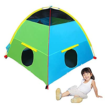 """Houseables Tent, Play House, 58"""" x 58"""" x 46"""", 8 PCS, Multi-Color, Large, Nylon, Pop Up Tents, Backyard Camping, Outdoor, Indoor, Playhouse, Toys, Childrens Playhouses, Fort, for Kids, Child, Girls"""