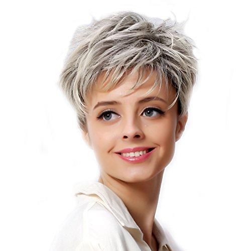 Fouriding Frauen Kurz Damen Perücken synthetiques Haarteile Blonde Perücke Haar mit der Wurzeln dunklen Schatten