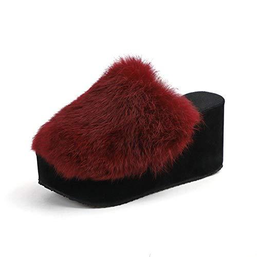 Zquest Sandalias Planas, Pantuflas de Felpa de Invierno, Pantuflas de algodón de Moda de tacón Alto para Mujer-Wine Red_38