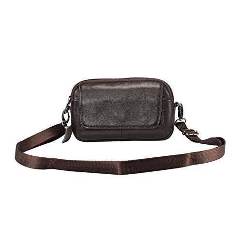 Bolsa de cinturón de cuero genuino para iPhone 12 Pro Max Holster con clip de cinturón / bucle, para Samsung S20 Fe 5G / Nota 20 Funda ultra Crossbody Casinera Men Messenger Bag Cintura Parrito Papel