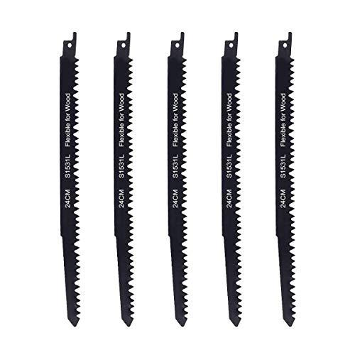 Sweetone Hojas de sierra, Juego de 5 hojas de sierra de sable recíproca para madera, S1531L-24cm, compatible con Bosch, DeWalt y Makita. Sierra de sable Cuchillas Hojas