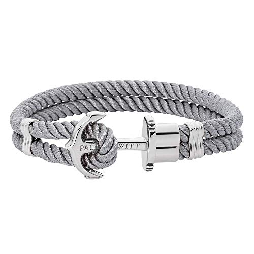 PAUL HEWITT Anchor Bracelet for Men and Women PHREP - Anchor Unisex Bracelet Nylon (Grey), Sailcloth Bracelets for Men and Women with Anchor Jewelry Made of Stainless Steel