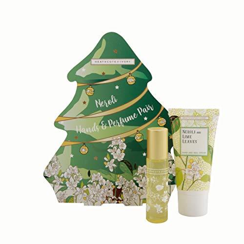 Heathcote & Ivory Neroli and Lime Leaves Handcream and Perfume Pair Set in Christmas Tree Shaped Box
