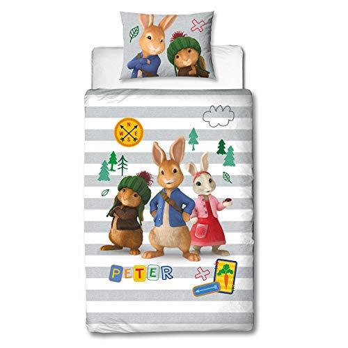 Character World Offizielles Peter Rabbit Einzelbett-Bettbezug | Forrest Design | Kinder & Teenager Streifen Wende-Bettwäsche Set & Kissenbezug