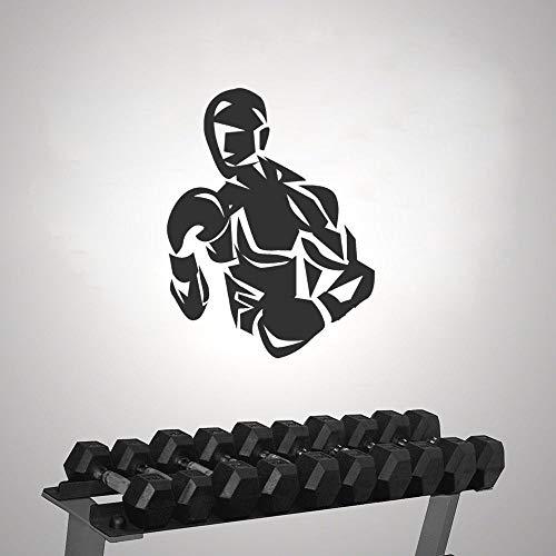 yaonuli Stilisierte Boxer Silhouette Aufkleber mit Benutzerdefinierten Farben Boxing Gym Wandkunst Dekoration 74x93cm