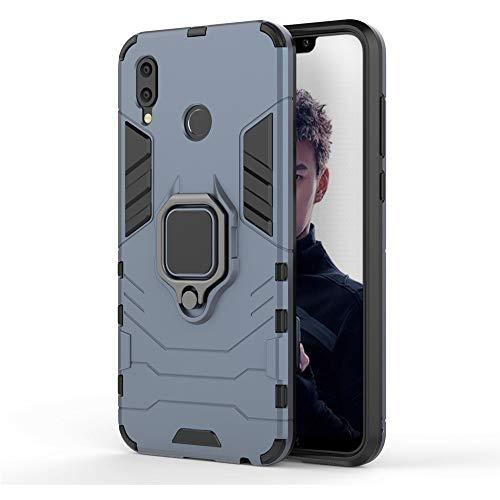MHHQ Huawei Honor Play Custodia, 2 in 1 Armour Stile Resistente Hybrid Dual Layer Armatura Defender PC + TPU Case Cover con Supporto Magnetico per Auto per Huawei Honor Play -Black Plus Gray