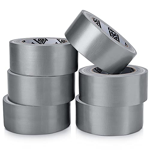 Heavy Duty Silver Duct Tape - 6 Roll Multi Pack - 30 Yards x 2 Inch - Strong, Flexible, No Residue, All-Weather and Tear by Hand - Bulk Value for Do-It-Yourself Repairs, Industrial, Professional Use