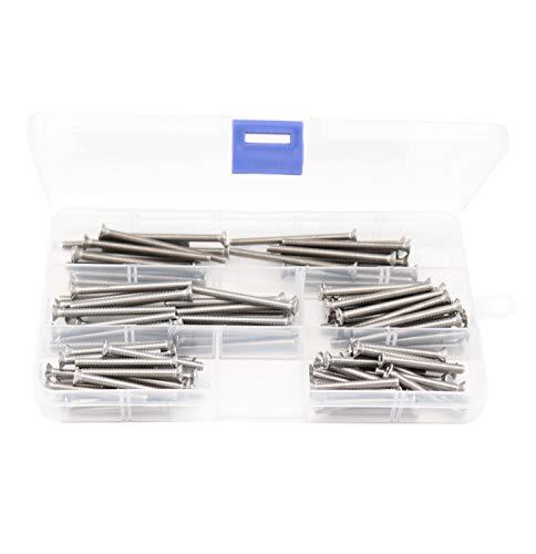 binifiMux 100pcs Flat Phillips Head M4 Machine Screws Assortment Kit, 304 Stainless Steel, M4 x 35mm/ 40mm/ 45mm/ 50mm/ 55mm