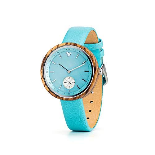 Woodstar IRIS W20-002 - Reloj de mujer de madera con correa de piel auténtica - Analógico de cuarzo color aguamarina