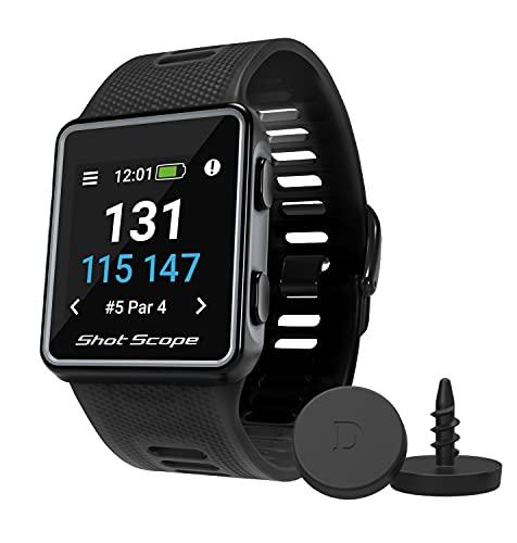 Shot Scope V3 GPS Watch (Black) - F/M/B + Hazard Distances - Automatic Shot Tracking - Free Apps -...