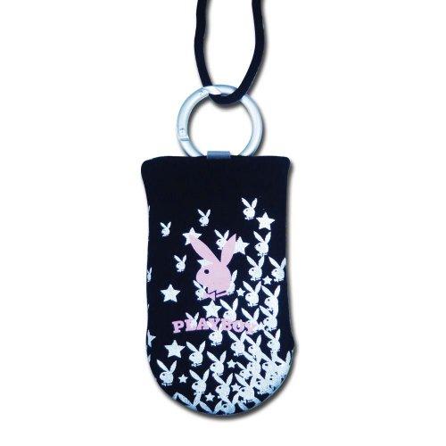 Playboy Lizenzprodukt schwarz Handy oder iPod Socke mit Bunny und Star in weiß inkl. Schlüsselband