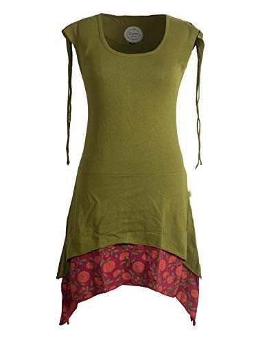 Vishes - Alternative Bekleidung - Ärmelloses Lagen-Look Elfen Zipfelkleid aus Baumwolle Olive 34