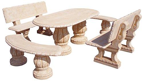 Mesa Comedor DE Jardin con 4 Bancos DE Piedra Artificial con Fibra.Mesa + 4BANCOS Desmontable Fresno...