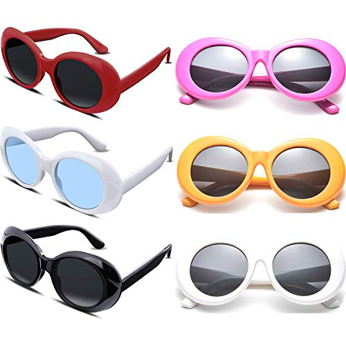 Retro Clout Oval Goggles Kurt Cobain Sunglasses Mod Style Round Lens Sun Glasses for Party Favors 6 Pack