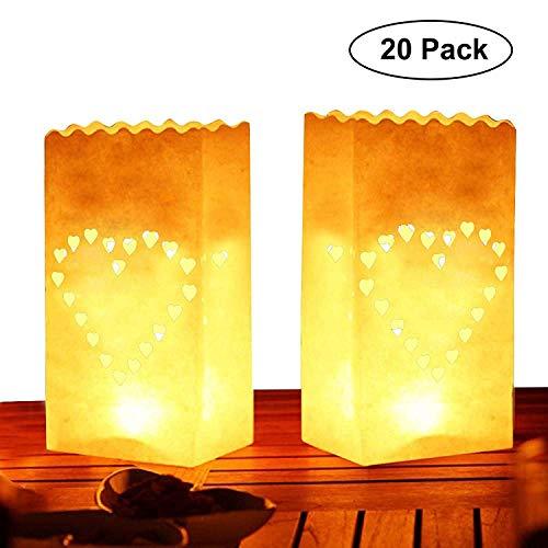 Kurtzy Bolsa de papel para velas (20 paquete) - Blanco LinternaDiseño de corazón (26,5 x 15 cm) - Resistente a las llamas Usada con luces de té (Regular o LED) para Decoraciones de Fiesta