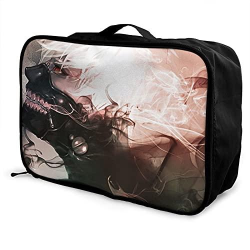 Tokyo Ghou(7) l bolsa de equipaje portátil ligera de gran capacidad impermeable negro moda vacaciones viajes hombres mujeres