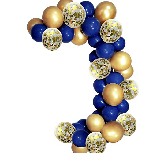Elepplrty Navy Blue Latex Balloons and 12inch Gold Metallic Balloons Gold Confetti Balloons-50 Pack