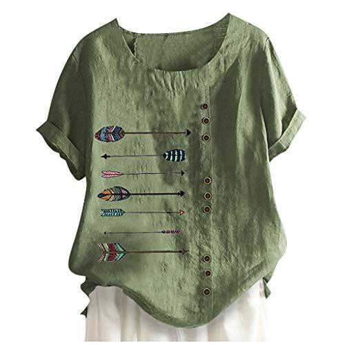 YBWZH Leinen Bluse Damen Sommer Herbst Übergröße Print Tshirts Kurzarm Loose Rundhals Oberteile Blumendruck Basic Tanktop Blusentop T-Shirt Oberteile