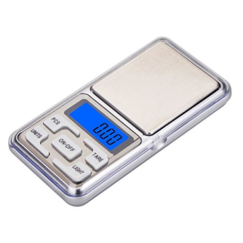 Báscula de bolsillo digital portátil para pesar objetos de hasta 500 g / Precisión de 0,01 g.