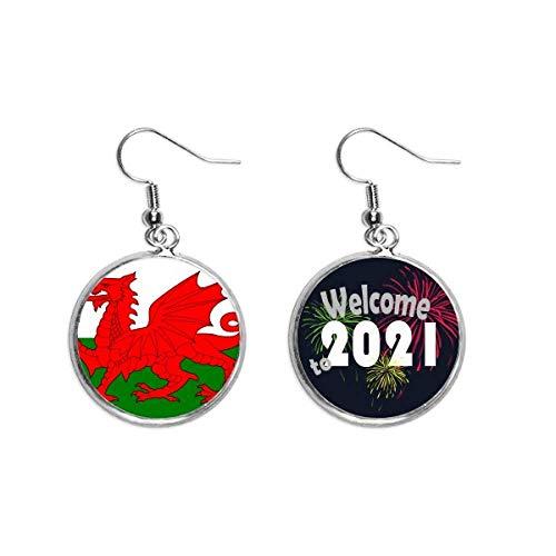 Ohrringe mit Wales-Nationalflagge, Europa, Länderohr-Anhänger, Schmuck, 2021 Segen
