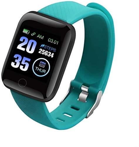 SHIJIAN Pantalla táctil completa inteligente impermeable fitness tracker con monitor de ritmo cardíaco y monitor de sueño, regalos para hombres y mujeres-verde