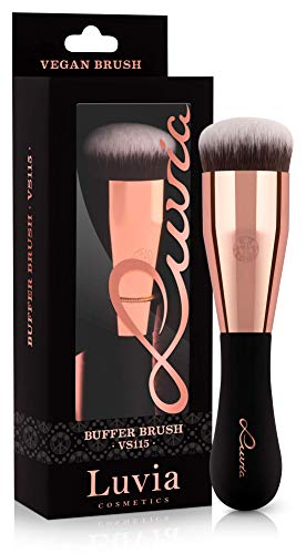 Luvia Kabuki Foundation Make-Up Pinsel - Vegan Signature VS115 Buffer Brush Schminkpinsel In Schwarz/Rosegold - Vegane Kosmetik Schminkpinsel/Kosmetikpinsel