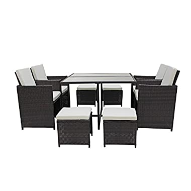 Sofamania Modern 8 Piece Space Saving Outdoor Furniture Dining Set, Patio Rattan Table and Chairs Set (Brown/Beige)