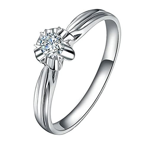 Amody Anillos de Matrimonio Oro Blanco, Anillo para Mujer de Boda Flor Diseño con 0.13ct Blanco Redonda Diamante Tamaño 10
