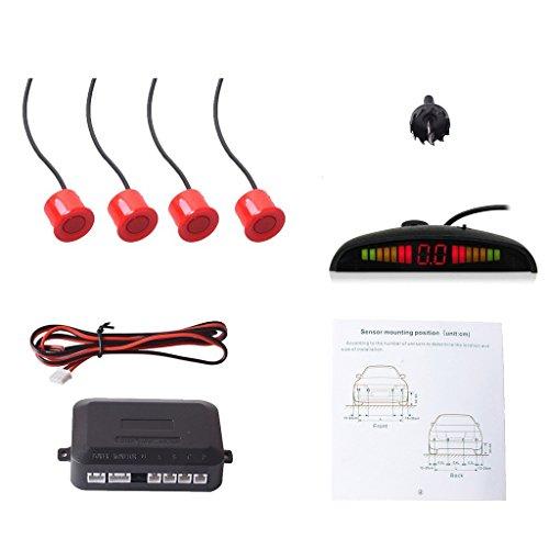 CoCar Auto Rückfahrwarner Einparkhilfe 4 Sensoren Einparkassistent Einparksystem PDC + LED Anzeigen + Akustische Warnung - Rot