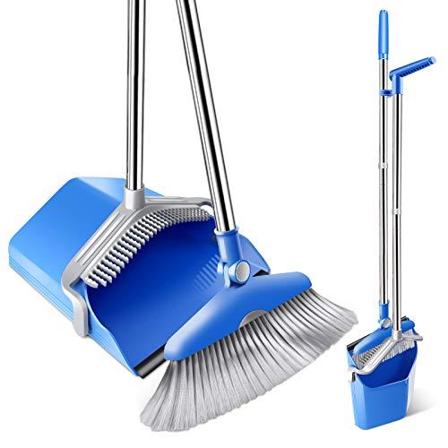 "Mastertop Broom and Dustpan Set Dustpan Cleans Broom - Upgrade Combo Broom Dust Pan with 52.8"" Long Handle, Indoor/Outdoor Heavy Duty Floor Cleaning Sweep Sets, Home Kitchen Room Office Lobby"