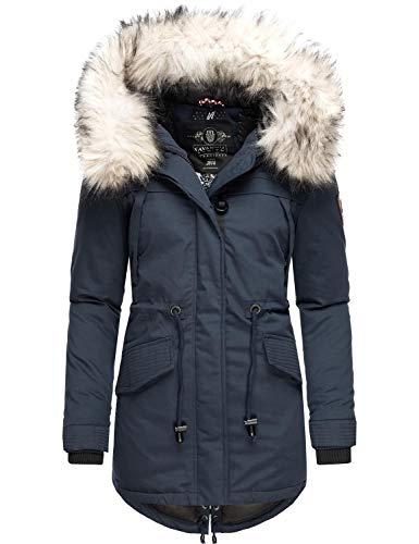 Navahoo, Lady Like, Cappotto invernale da donna con pelliccia sintetica rimovibile, 6 colori XS – XXL Blu XS