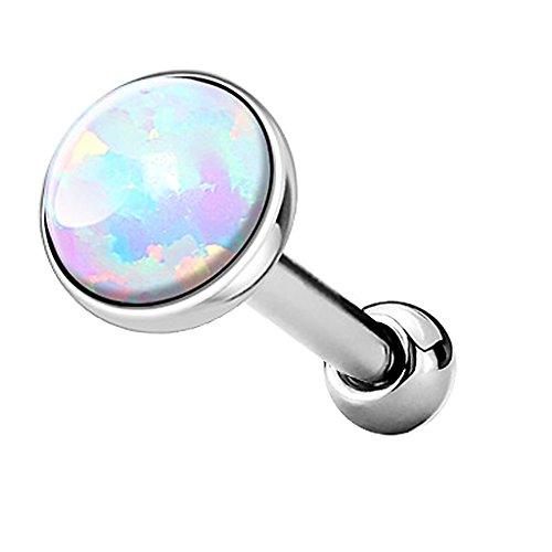 Piercingfaktor Tragus Piercing Helixpiercing Helix Ohr Cartilage Knorpel Stecker mit flachen Opal Steinen Rund Silber Weiß 5mm