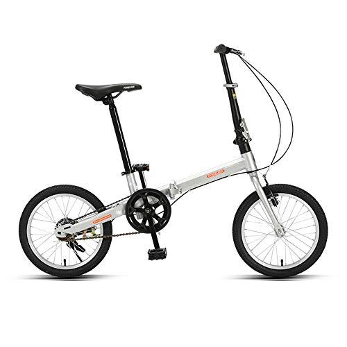 Bicicleta, Bicicleta de Ocio PortáTil, Bicicleta de Viaje Plegable, Marco de Acero con Alto Contenido de Carbono, Ruedas de 16 Pulgadas, Freno Doble, para Adultos/Estudiantes/A / 127x82