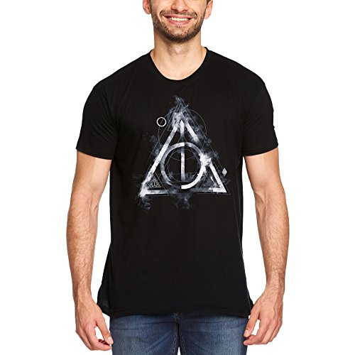 Harry Potter Camiseta Hombre Smoky Deathly Hallows Elven Forest algodón Negro - L