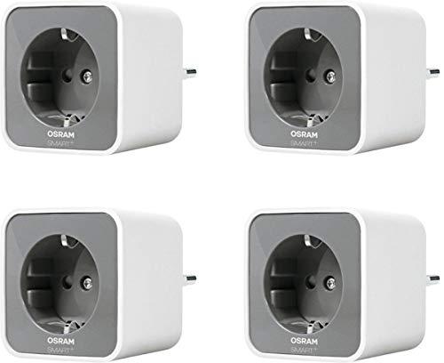 OSRAM Smart+ Plug, ZigBee schaltbare Steckdose, für die Lichtsteuerung in Ihrem Smart Home, Direkt kompatibel mit Echo Plus und Echo Show (2. Gen.), Kompatibel mit Philips Hue Bridge, 4er Pack