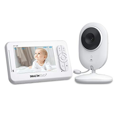"Dragon Touch DT40 4.3"" Video Baby Monitor with Camera Infant Wireless Digital Cam, Infrared Night Vision, Support Multi-Cameras, Lullaby, Two-Way Audio, VOX Auto Audio Monitor with Temperature Monitoring"