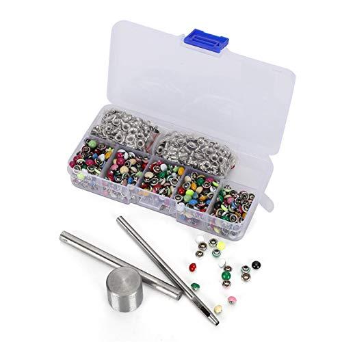 EVTSCAN 380 Juego de remaches redondos de setas Color latón cuero/cinturón/bolso decoración caja de herramientas de bricolaje 6mm para encuadernación artesanal de cuero DIY