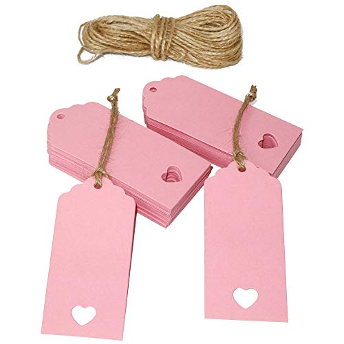 100 Pcs Valentine's Day Tags,Gift Tags,Paper Tags,Wedding Tags,Pink Tags Hollow Heart with 100 Feet Jute Twine(9cm x 4cm)