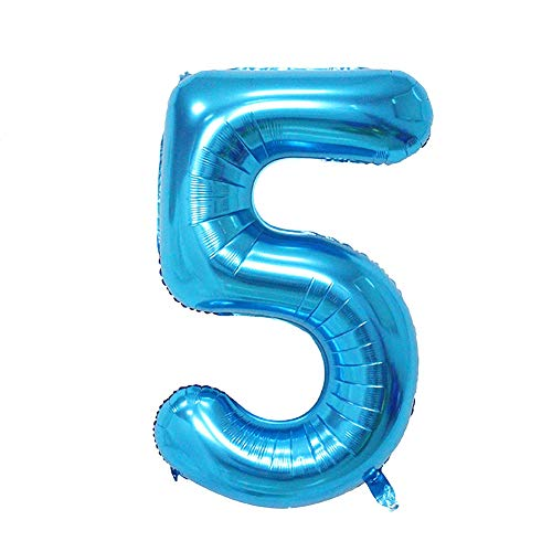 Latex folie ballonnen, KimcHisxXv 30/40 inch folie ballon nummer figuur bruiloft verjaardag feest festivals decor - blauw 30 inch 5
