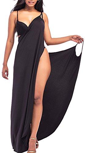 Rolansica Damen Strandkleid Wickelkleid Badeanzug Mehrfachverschleiß leicht schnell trocken leicht Black L
