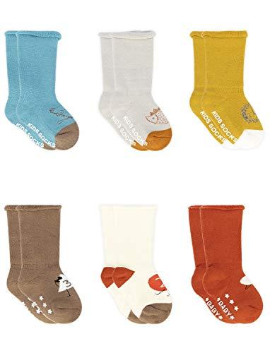 Adorel Baby Jongens Sokken Antislip Lang met Badstof 6-Pak