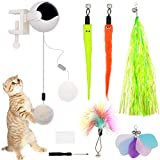 ZALALOVA Interactive Cat Toys, Automatic Lifting Cat Teaser & Teaser Ball w/ 5 Refills Cat Plush Toys Feather Toys Electric Puzzle Pet Toys Lifting Flutter Cat Exercise Toys