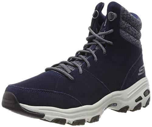 Skechers D'lites - Chill Flurry, Damen Kurzschaft Stiefel, Blau (Navy Suede/Knit Nvy), 39 EU (6 UK)