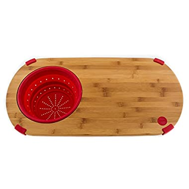 Fiesta Scarlet Bamboo and Silicone Colander Board